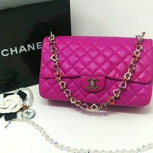 Rare CHANEL Fucshia Pink Valentine Heart Flap Bag